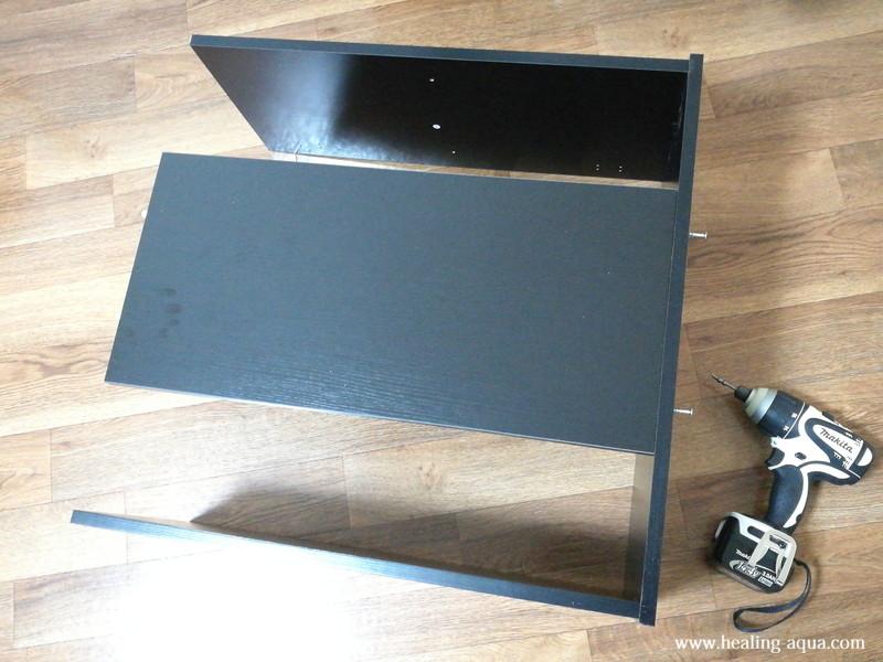 GEX扉付キャビネット610WN底板と背面板・中板・側板組み立て