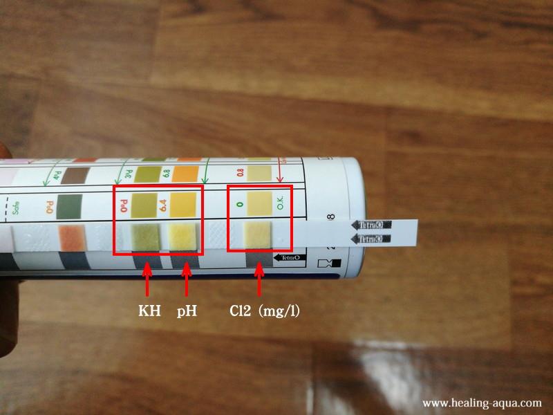 塩素(Cl2)・ペーハー(pH)・炭酸塩硬度(KH)測定色