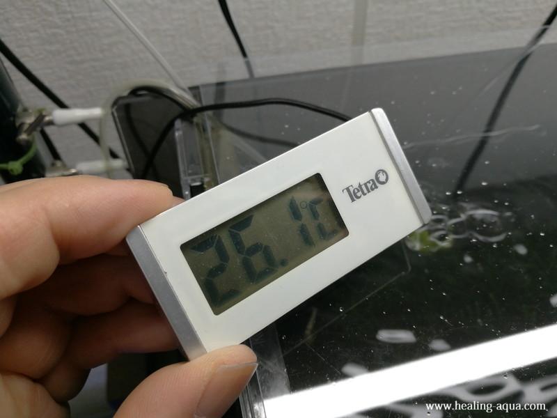 GEXアクアクールファン「レギュラー」使用前水温計26.1℃