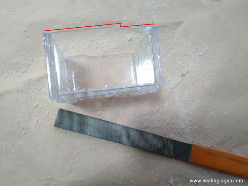 切断面がガタガタなプラスチックケース